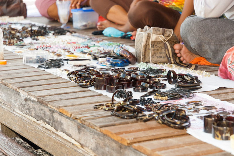 Turtle shell jewellery sold on Derawan island, Indonesia