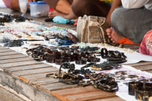 Turtle shell jewellery sold on Derawan