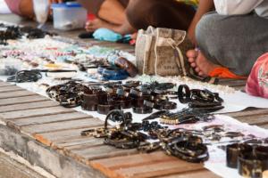 Turtle shell jewellery sold on Derawan