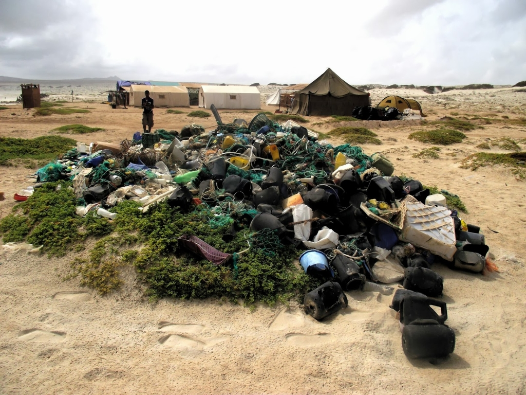 The result of a beach clean up in Boa Esperanca