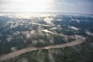 Berau river viewed from plane